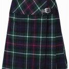 Ladies Knee Length Kilted Long Skirt, 62 sz Scottish Billie Kilt Mod Skirt in Mackenzie Tartan