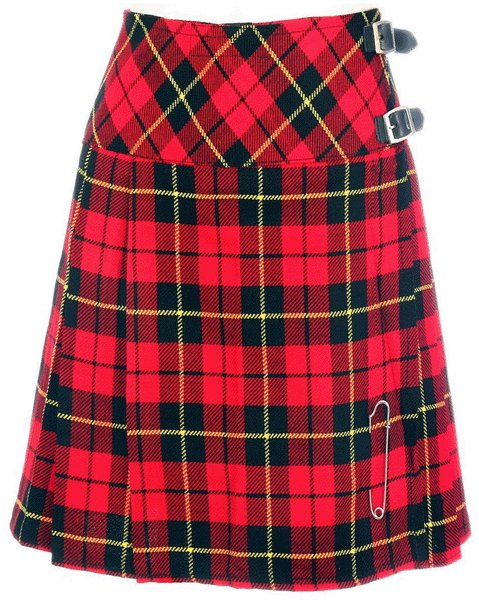 Ladies Billie Pleated Kilt 56 sz Knee Length Long Skirt in Wallace Tartan