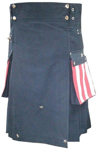 54 Size Hybrid Utility Kilt with US Flag Pocket Tactical Duty Utility Kilt Cargo Pockets