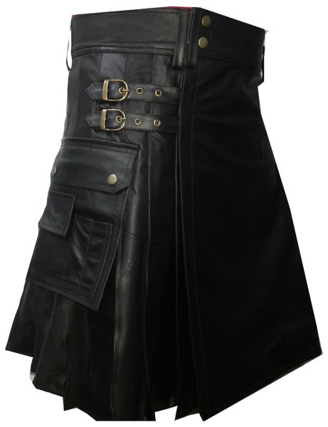 Utility Black Leather Pleated Kilt 30 Size Genuine Cow Leather Sports Kilt with Cargo Pockets