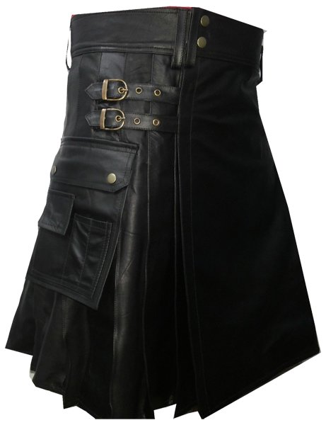 Utility Black Leather Pleated Kilt 36 Size Genuine Cow Leather Sports Kilt with Cargo Pockets