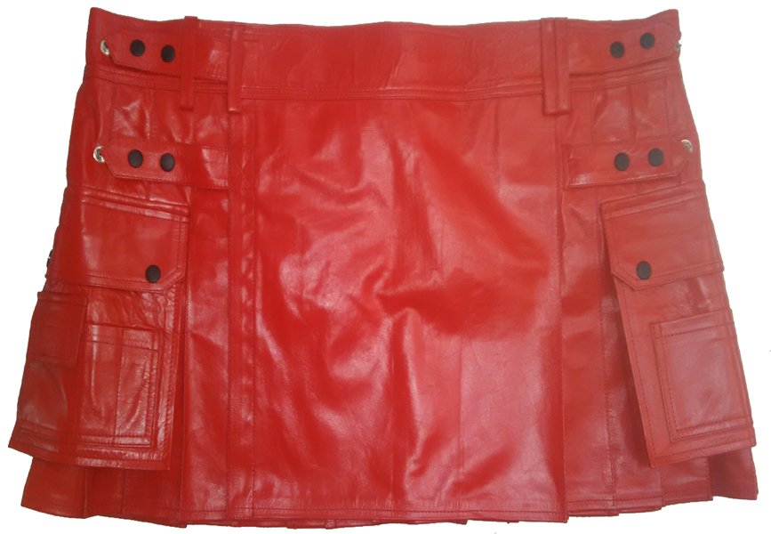 Genuine Cowhide Leather Red Kilt in 46 Size Utility Kilt Casual Pleated Scottish Kilt