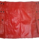 Genuine Cowhide Leather Red Kilt in 58 Size Utility Kilt Casual Pleated Scottish Kilt