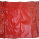 Genuine Cowhide Leather Red Kilt in 64 Size Utility Kilt Casual Pleated Scottish Kilt