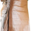 46 Size Brown Utility Leather Kilt Genuine Cowhide Brown Leather Scottish Kilt Skirt
