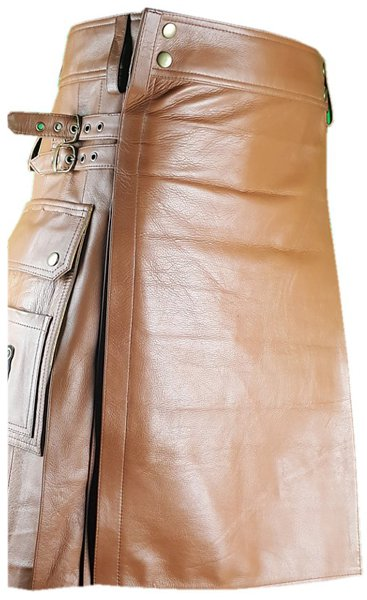 50 Size Brown Utility Leather Kilt Genuine Cowhide Brown Leather Scottish Kilt Skirt