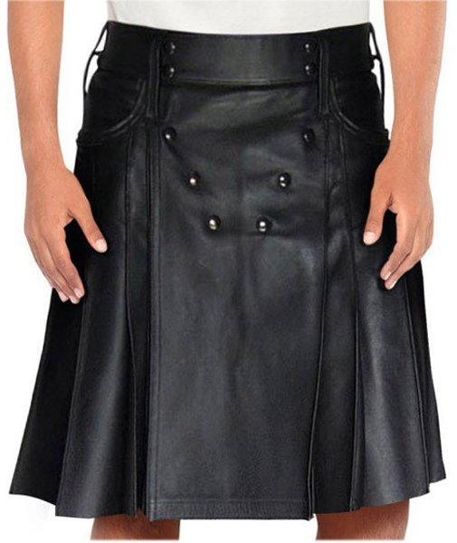 Stud Button Men Leather Kilt 42 Size Black Leather Kilt with Back Pockets For Men