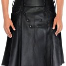 Stud Button Men Leather Kilt 46 Size Black Leather Kilt with Back Pockets For Men