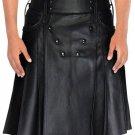 Stud Button Men Leather Kilt 60 Size Black Leather Kilt with Back Pockets For Men