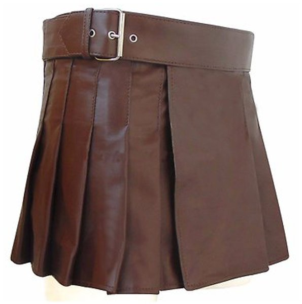 Real Brown Leather Skirt Ladies Mini Stylish Skirt Size 30 Wrap Round Leather Skirt Kilt