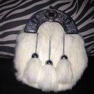 Scottish HIGHLAND White RABBIT FUR Skin 3 Tassel Leather Kilt SPORRAN OR BAG