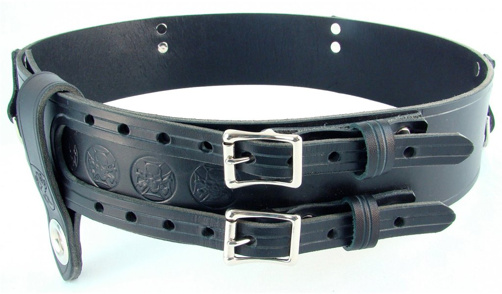 Double Buckle Belt Size 42 Celtic Knot Belt Kilt Belt Leather Belt Black Belt