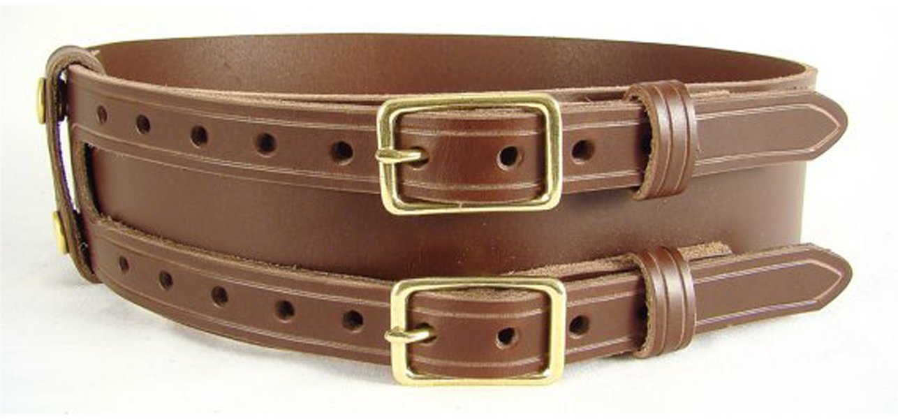 Double Buckle Brown Leather Belt Size 46 Celtic Knot Belt Kilt Belt Leather Belt Brown Belt