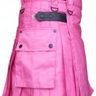 Custom Size Pink Cotton Utility Kilt 42 Size Cargo Pockets Kilt With Adjustable Leather Straps