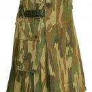 Custom Size Woodland Camo Cotton Utility Kilt 32 Size Cargo Pockets Kilt With Leather Straps