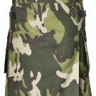 Men's Custom Size Camo Cotton Utility Kilt 52 Size Cargo Pockets Kilt With Leather Straps