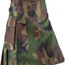 New Custom Size Camouflage Cotton Utility Kilt 44 Size Cargo Pockets Kilt With Leather Straps