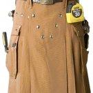 Men's Brown Utility Cotton Kilt 58 Size Working Kilt with Cargo Pockets