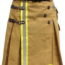 DE Size 48 Fireman Khaki Cotton UTILITY KILT With Cargo Pockets