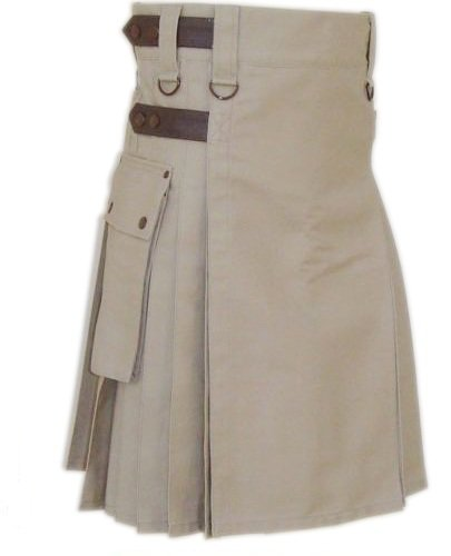 Size 46 Khaki Cotton Utility Kilt with Leather Straps Heavy Duty Tactical Kilt with Cargo Pockets