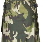 Men's Custom Size Camo Cotton Utility Kilt 60 Size Cargo Pockets Kilt With Leather Straps