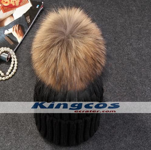 mink and fox fur ball cap pom poms winter hat for women girl 's 31 colors for choose free shipping
