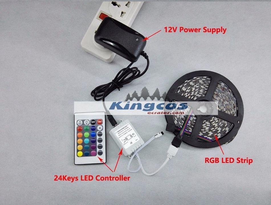 5M SMD 5050 RGB LED Flexible Strip Light Kit 300LEDs 60LEDs/M