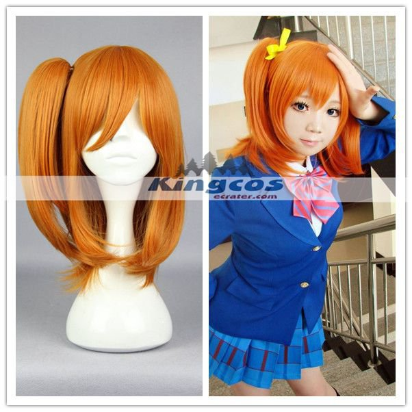 Love Live! Honoka Kosaka Long orange Women Anime Party Synthetic Wig cosplay wig