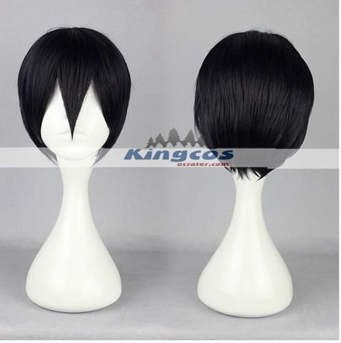30cm Short Mens Tokyo Ghoul Ken Kaneki Black Wig Manga Cosplay Synthetic Natural Hair