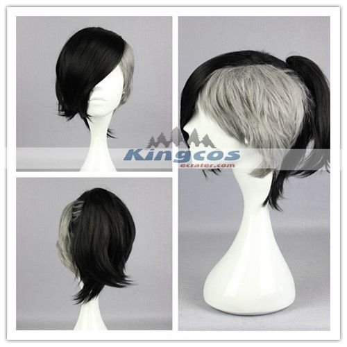 Special Men Women Available Haircut Short Black Grey Mixed Wig Cosplay