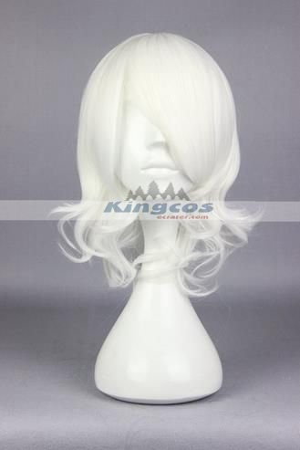 38cm Curly White Synthetic Anime Tokyo Ghoul Cosplay Wig