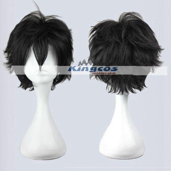 30cm Mens Short Black Wig Heat Resistant arcana famiglia- Luca Cosplay Wig