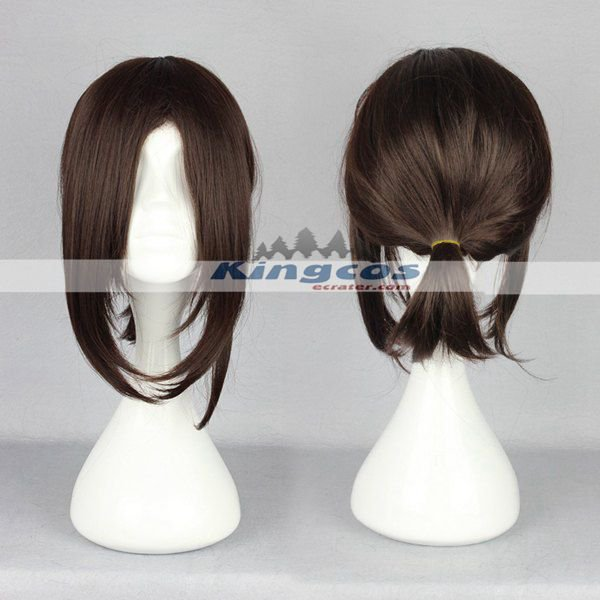 38cm Attack on Titan Anime Cosplay Hanji Zoe Wig Short Dark Brown Synthetic Wigs