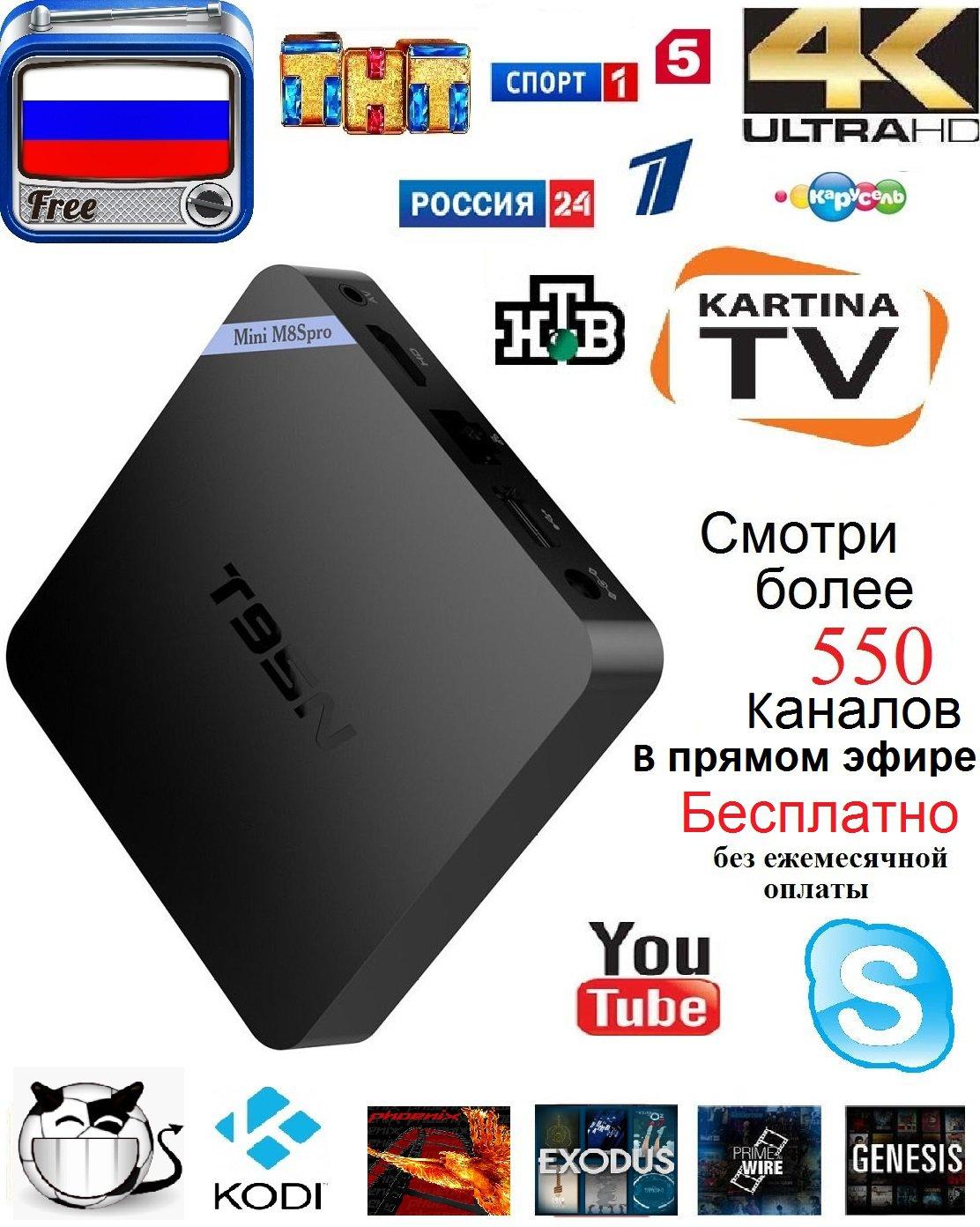 Live Russian TV Receiver Box T95n Mini 2G 8G Fast By TvBox.Pro Ukrainian TV Kartina TV