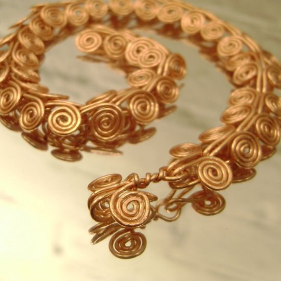 Horn of Aries - men's coiled copper bracelet