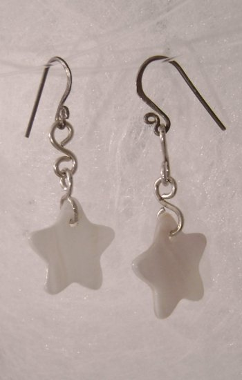 L'etoiles de soiree - sterling silver and mother of pearl earrings