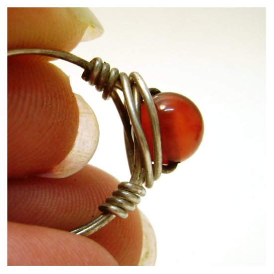 Pomegrante Seed - red carnelian sterling silver wire wrapped ring