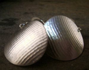 Textured sterling silver hand made earrings
