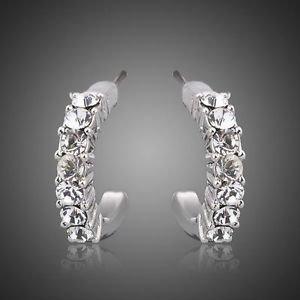 Elegant Platinum Plated Stellux Austrian Crystal Hoop Earring