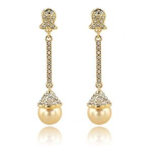 Wedding Pearl Earrings Austrian Crystal Bridal Dangle Champagne Earrings