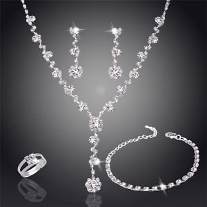 Necklace Earrings Bridal Set Crystal Rhinestone Bridesmaids Wedding Jewelry Set