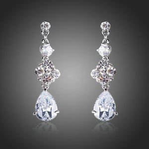 Wedding Earrings Bridal Cubic Zirconia Earrings Waterdrop Dangling CZ Earrings