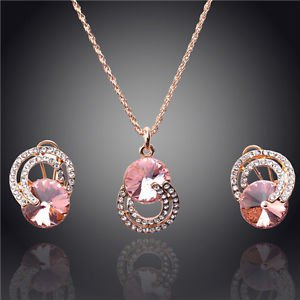Pink Necklace Earrings Gold Plated Necklace/Earrings Pink Wedding Jewelry Sets