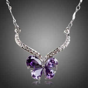 Fashion Purple Statement Necklace Cubic Zirconia Crystal Collar Lavender
