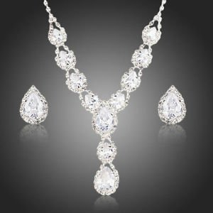 Bridal Water Drop Pear Quality Cubic Zircon Wedding Prom Necklace and Earrings