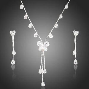 Wedding Bridal Jewellery Set Swiss Cubic Zirconia Earrings Pendant Necklace Sets