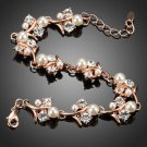 Rose Gold Plated Bracelet Clear CZ White Pearl Bridal Flower Fashion Bracelet
