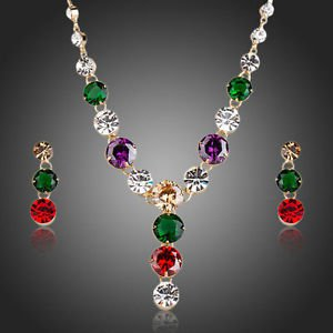 Green Purple Red Swiss Cubic Zirconia Necklace and Earrings CZ Jewelry Sets