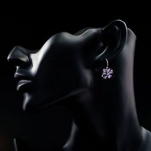 Platinum Plated Purple Flower Stellux Austrian Crystal Stud Earrings