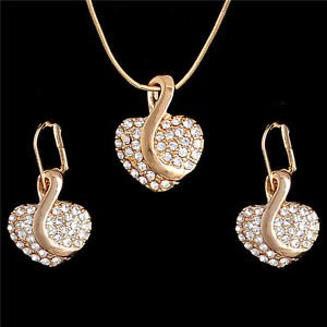Yellow Gold Filled Heart Austrian Crystal Necklace Earring  Jewelry Set